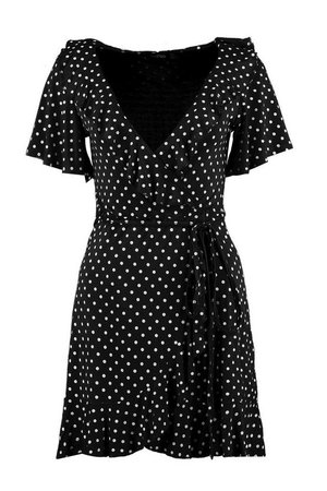 Wrap Polka Dot Print Frill Detail Tea Dress | Boohoo