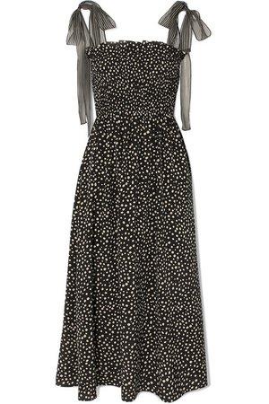 La Ligne   Lou chiffon-trimmed polka-dot silk crepe de chine midi dress   NET-A-PORTER.COM