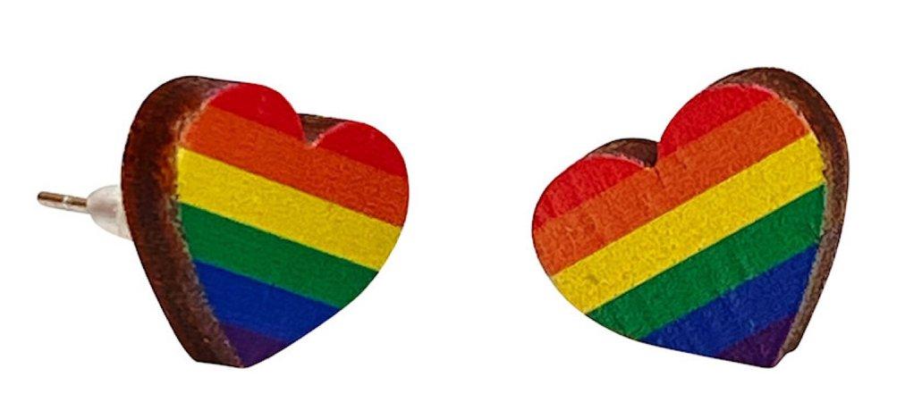 rainbow heart earings