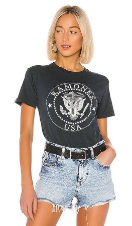 DAYDREAMER Ramones USA Crest Weekend Tee in Vintage Black | REVOLVE