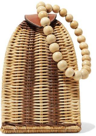 Raya Leather-trimmed Rattan Clutch - Beige