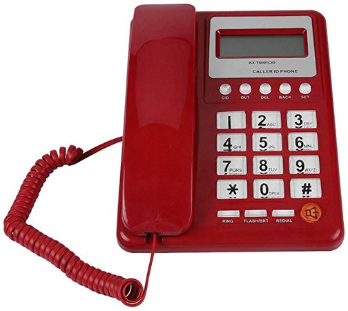 Retro Red Wired Corded Telephone, DTMF/FSK Dual Mode Desktop Landline Phone with Flash and Redial Function, Caller ID Display Fixed Telephone for Hotel Family School Office: Amazon.ca: Office Products