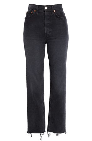 Re/Done Originals High Waist Stovepipe Jeans (Faded Black 85) | Nordstrom