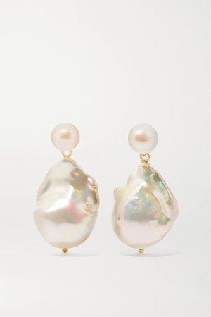 Gold Duality 14-karat gold pearl earrings   Mateo   NET-A-PORTER