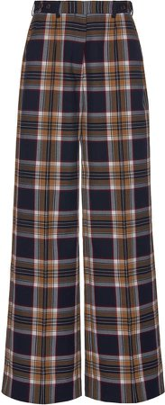 Plaid Crepe Wide-Leg Pants