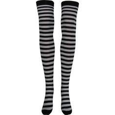 Stripe Opaque Thigh High Socks in Black and White - Poppysocks