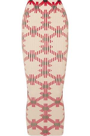 Paco Rabanne | Printed ribbed cotton-blend maxi skirt | NET-A-PORTER.COM