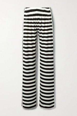 Striped Stretch-jersey Wide-leg Pants - White