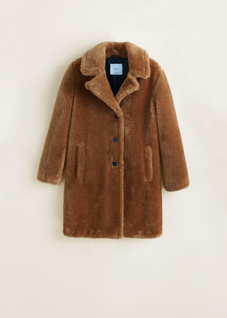 Lapels faux fur coat - Women | MANGO USA