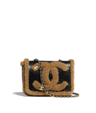 Flap Bag, shiny crumpled sheepskin, shearling sheepskin & gold-tone metal, black & brown - CHANEL
