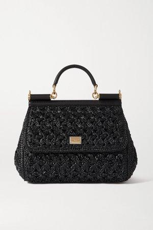 Black Sicily medium leather-trimmed woven raffia tote | Dolce & Gabbana | NET-A-PORTER
