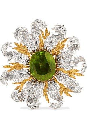 Buccellati | 18-karat yellow and white gold, diamond and peridot brooch | NET-A-PORTER.COM