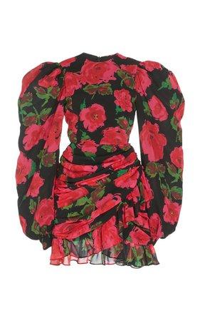 Ruched Floral-Print Chiffon Dress by Richard Quinn | Moda Operandi