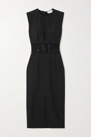Lace-trimmed Crepe Midi Dress - Black