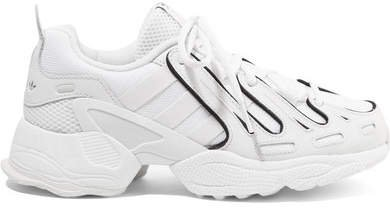 Eqt Gazelle Leather And Mesh Sneakers - White