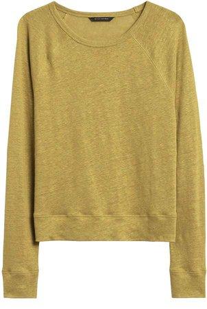Petite Linen Raglan Cropped T-Shirt