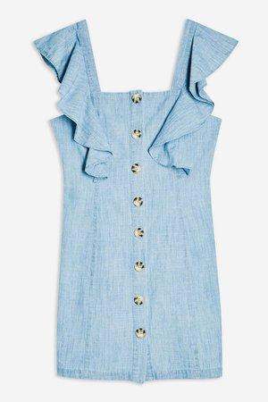 Ruffle Sleeve Horn Button Mini Dress | Topshop