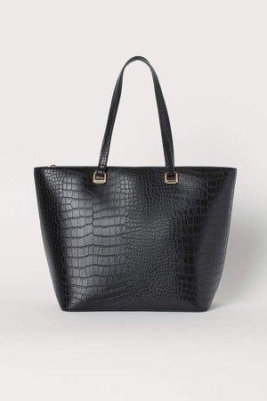 Crocodile-patterned Shopper - Black