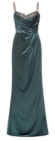 Marchesa Crystal-Embellished Velvet Gown