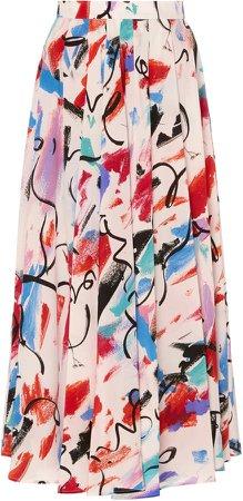 SOONIL Multi Printed Pleated Skirt Size: 0