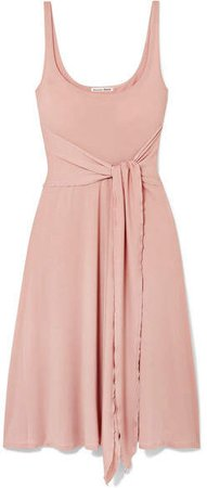 August Tie-front Stretch-lyocell Dress - Blush