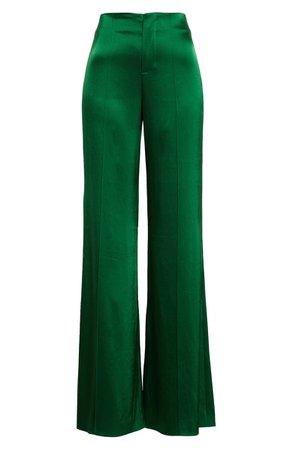 Alice + Olivia Dylan High Waist Wide Leg Satin Pants | Nordstrom