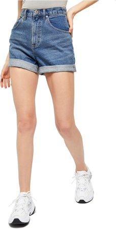 High Waist Cuffed Denim Mom Shorts