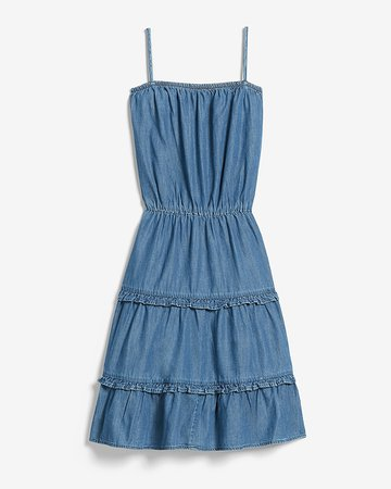 Denim Square Neck Tiered Mini Dress   Express