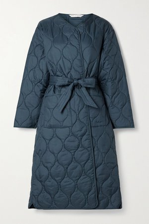 Navy + ALEXACHUNG Martha belted quilted shell coat | Barbour | NET-A-PORTER