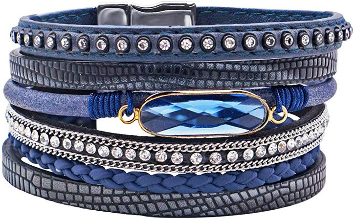 Top Multi-Layer Leather Bracelet Wrap Bracelet Boho Cuff Bangle Crystal Bead Bracelet Rhinestone Handmade Magnetic Clasp
