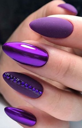 Purple Chrome/Matte Nails