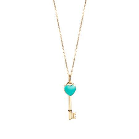 Tiffany Keys heart key charm in 18k gold with Tiffany Blue® enamel, mini.   Tiffany & Co.