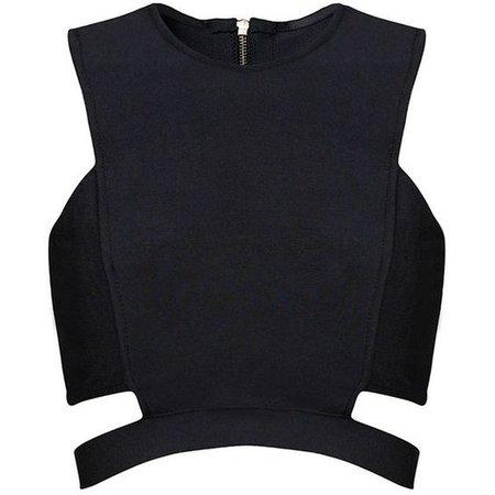 Black Asymmetrical Crop Top 1