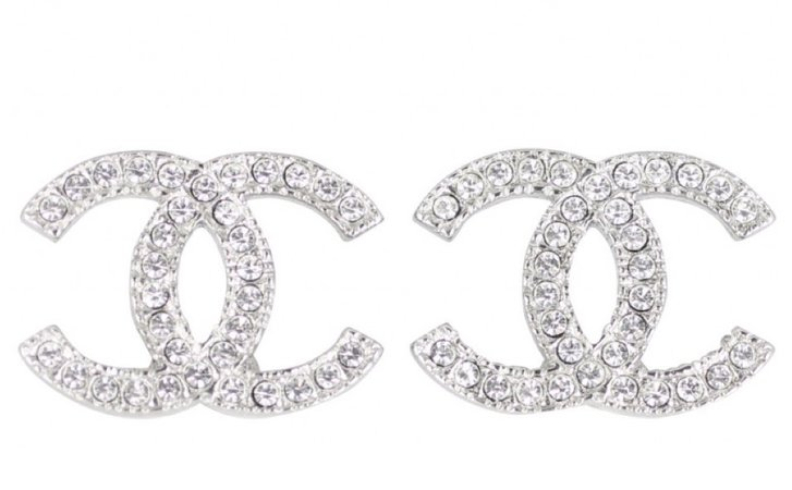 silver Chanel earrings