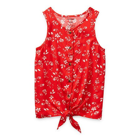 Arizona Little & Big Girls Scoop Neck Tank Top, Color: Pompeian Red Flora - JCPenney