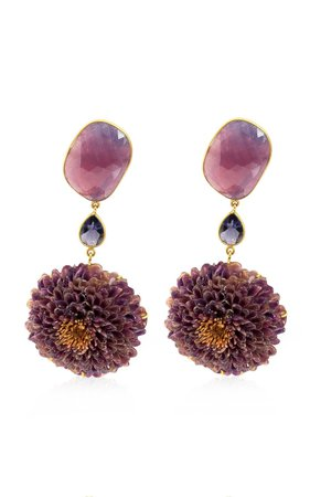 Real Dahlia, Sapphire, Iolite 18K Yellow Gold Earrings by Bahina | Moda Operandi