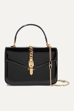 Black Sylvie 1969 mini chain-embellished patent-leather tote | Gucci | NET-A-PORTER