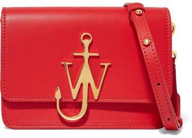 Logo Mini Leather Shoulder Bag - Red