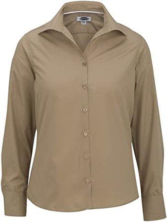 Edwards Garment Women's Open Neck Poplin Blouse-Long Sleeve, Tan, XXXX-Large at Amazon Women's Clothing store