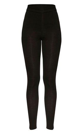 Basic Black High Waisted Jersey Leggings | PrettyLittleThing USA
