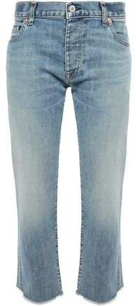 Frayed Faded Mid-rise Boyfriend Jeans