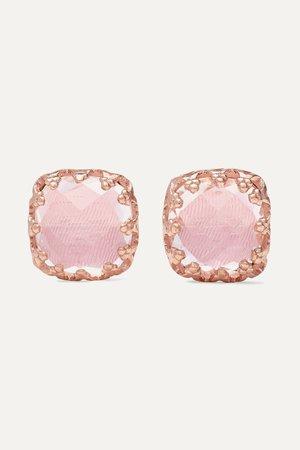 Rose gold Jane small 18-karat rose gold-dipped quartz earrings | Larkspur & Hawk | NET-A-PORTER