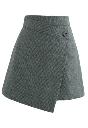 Button Flap Wool-Blended Mini Skirt in Dark Green - Retro, Indie and Unique Fashion