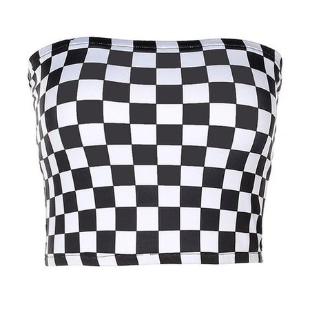 Checkered Cropped Tube Top