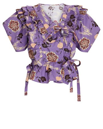 Ulla Johnson Amata Ruffled Floral Poplin Blouse | INTERMIX®