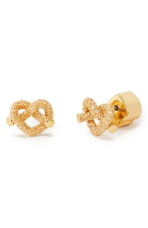 kate spade new york pavé loves me knot pretzel heart stud earrings | Nordstrom