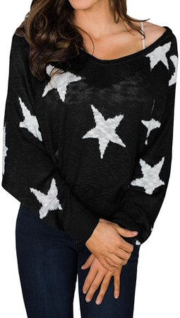 Hestenve Womens Star Pullover Sweater Batwing Long Sleeve Baggy Knitted Jumper Black at Amazon Women's Clothing store