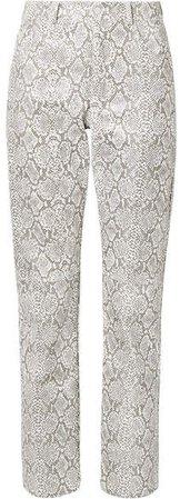 Snake-effect Faux Leather Straight-leg Pants - Snake print