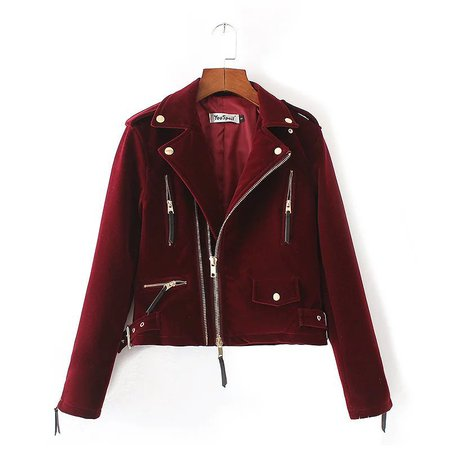Wholesale- Women's Fashion Velvet Jacket Ladies Wine Red Black Zipper Velvet Bomber Jackets Lapel Long Sleeve Female College Basic Coats Jacket Pvc Jackets Snow Jacket Leather Online with $66.23/Piece on Xiatian5's Store | DHgate.com