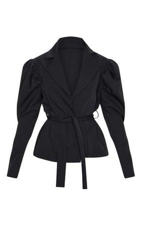 Black Puff Sleeve Belted Blazer   PrettyLittleThing